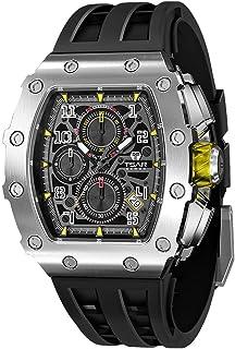 Relojes de lujo para hombre Cuadrado analógico 50M impermeable Tonneau cronógrafo militar reloj deportivo para hombres Premium Diver reloj de pulsera de cuarzo hueco diseño noche reloj con banda de goma