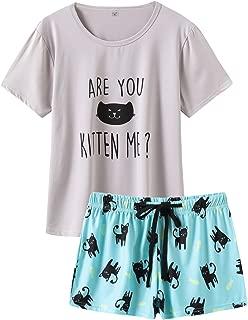 Pajamas for Women 2 Piece Cute Cat Sleepwear Pajama Sleep Set