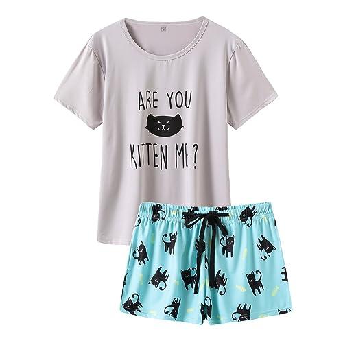 b116db9d1 VENTELAN Summer Pajamas for Women 2 Piece Cute Cat Sleepwear Pajama Sleep  Set