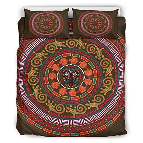 Wandlovers Juego de ropa de cama de 3 piezas, diseño azteca, sol, tótem estampado, para todo el año, funda de edredón y fundas de almohada, color blanco, 13 264 x 229 cm