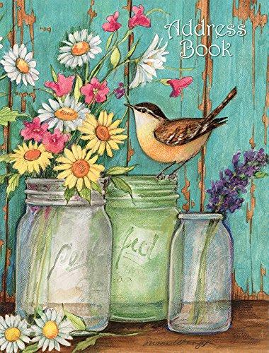 """LANG - Livro de endereços -""""Frascos de flores"""", arte de Susan Winget - Lay-Flat, encadernação de 3 anéis - 16,5 x 21,5 x 4,4 cm"""