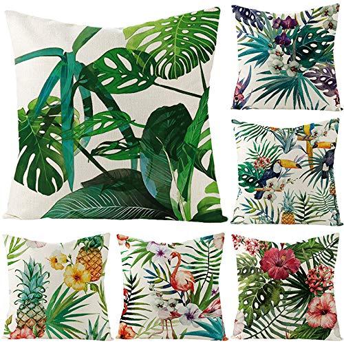 Dizie - Funda de cojín de lino con diseño de hojas verdes de plantas tropicales, funda de cojín para sofá de estilo nórdico (estilo aleatorio)