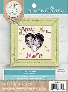 مجموعة تطريز إطار صور Love You More من تصميم Catchy Heck Studio, 5 بوصات × 5 بوصات