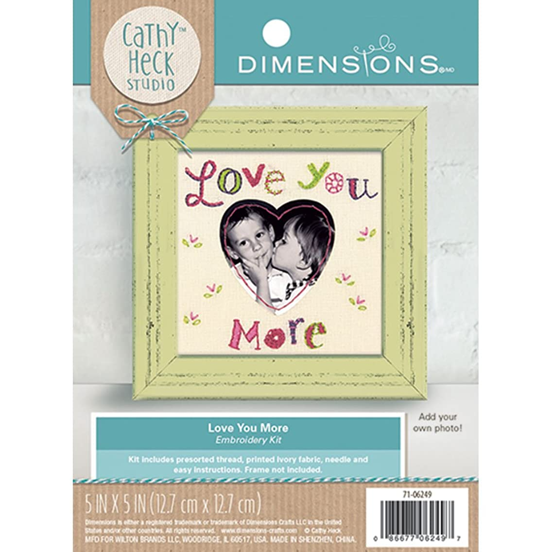 Dimensions Love You More' Photo Frame Embroidery Kit by Catchy Heck Studio, 5'' x 5''