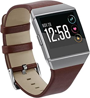 Fitbit Ionic Smartwatch Bands, mtsugar Classic Genuine Leather Replacement Strap Accessories for Fitbit Ionic with Precise Buckle Design