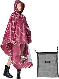 IBLUELOVER Ponchos de lluvia para mujer, hombre, impermeable, con capucha, transpirable, chaqueta de lluvia, abrigo imperm...