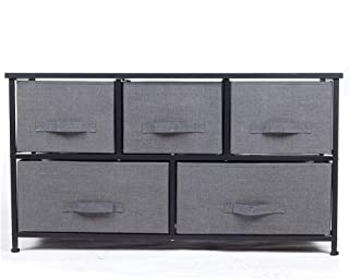 Polar Aurora 5 Drawers Dresser Wide Dresser Storage Tower with Handrail for Multiple Rooms Storage Organizer Unit nightstand Bedside Table End Table (Charcoal Gray/Black)