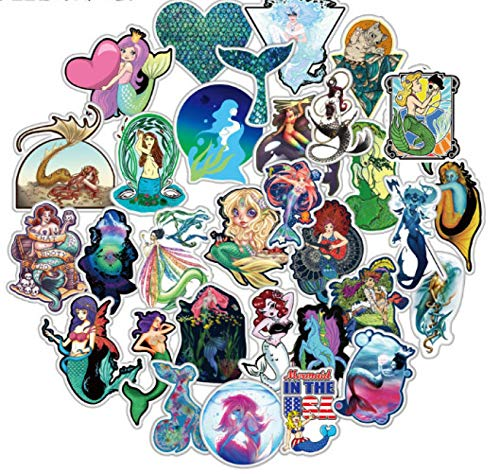HENJIA 50 Uds, Pegatina de Sirena de Dibujos Animados, Juguete para niños, Motocicleta, monopatín, móvil DIY, Diario de Mano, Libro de Recortes, Escritorio