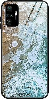 For Xiaomi Redmi Note 10 Pro / Redmi Note 10 Pro Max Case marble pattern tempered glass Back Cover (Aqua)