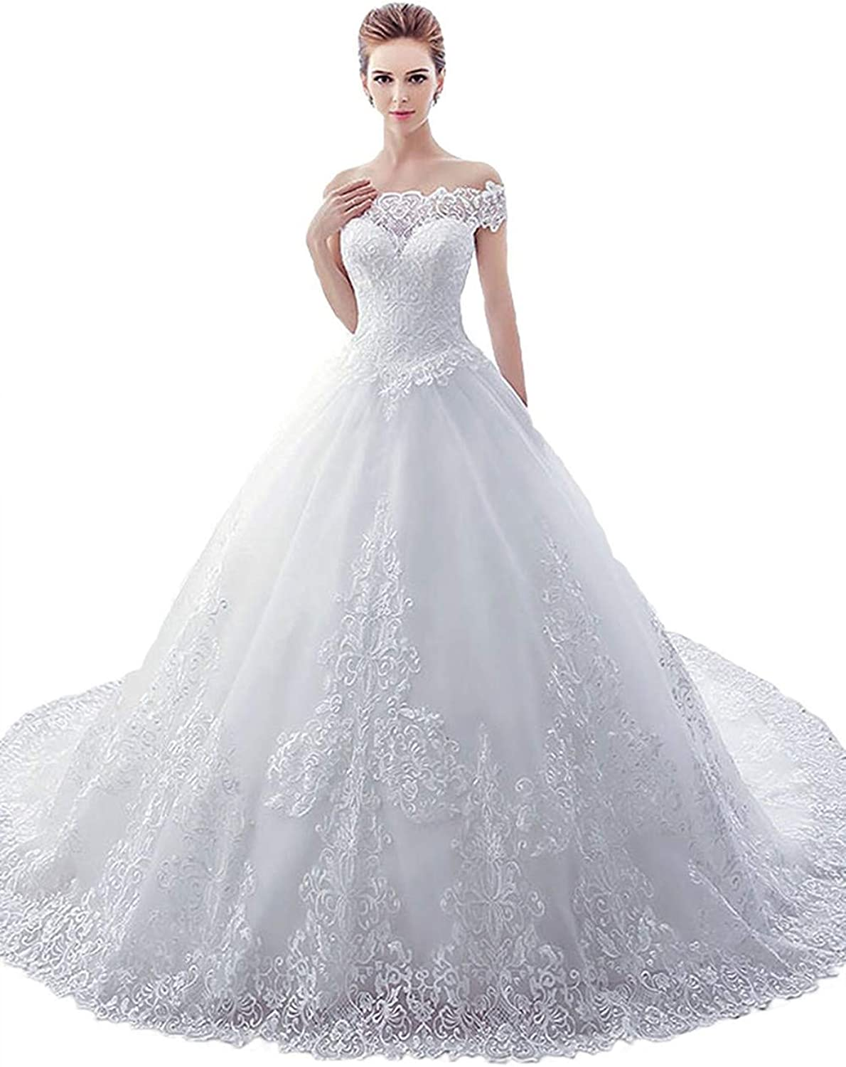 Huifany Women's Off Shoulder Ball Gown Lace Wedding Dress Bridal Gowns Sweep Train