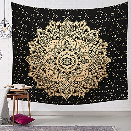 Mandala Tapestry Wall Hanging Metallic Hippie Art Psychedelic Tapestry Black Tapestry for Bedroom Living Room Home Wall Decor 28
