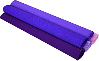 YoungRich 5PCS Crepe Paper Folds Roll DIY Flower Packing Handmade Crinkled Paper Eco-Friendly Non-Toxic Easy Use for Wedding Birthday Party Shop Home 50x250cm Purple in Varying Hue