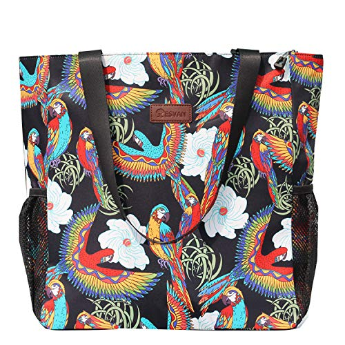 Original Floral Water Resistant Large Tote Bag Shoulder Bag for Gym Beach Travel Daily Bags Upgraded ([P] Pattern)