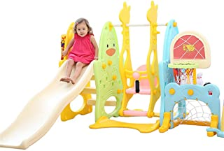 3 in 1 Climber and Swing Set Combination of Swing Slide Basketball Hoop Indoor Backyard Slide Playground