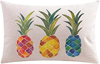 Ink Painting Fresh Color Fruit Pineapples Cotton Linen Throw Waist Lumbar Pillow Case Cushion Cover Home Office Decorative...