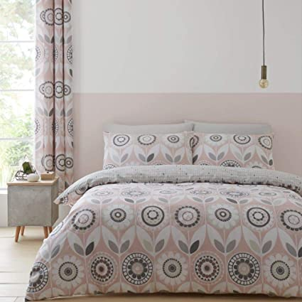 Catherine Lansfield Larsson Geo Parure de lit Simple Facile dentretien Rose