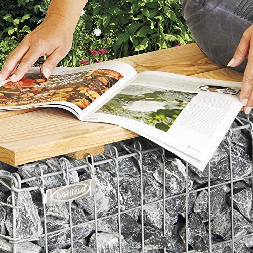 bellissa Gartenbank GABIONE - 97150 - Schmale Gabionenbank ohne Lehne - Garten-Bank, Sitzfläche aus Douglasien-Holz - 100 x 30 x 46 cm