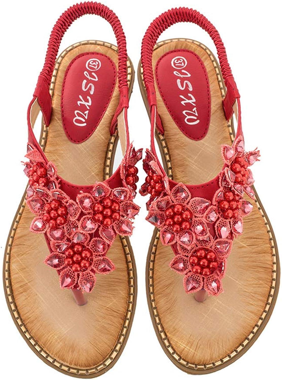 Mobnau Womens Jeweled Flowers Flat Thong Summer Sandals