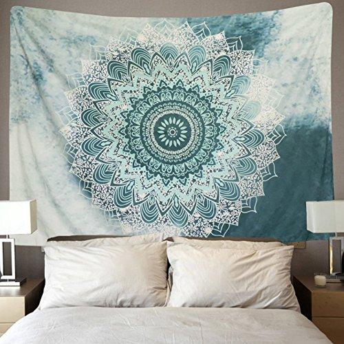 Indische Tapisserie Boho-Wandteppich Wandbeh/änge Schwarz und Wei/ß Wandteppiche als Dekotuch //Tagesdecke//Strandtuch indisch orientalisch psychedelic 150x130cm