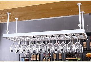 Supports à verres à pied, support de bouteille de vin suspendu monté au plafond Gobelet en métal Support de verre à vin Un...