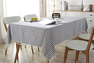 Cotton And Linen Simple Striped Fringe Lace Tablecloth Suit Most People's Home Styles (Color : A, Size : 60 * 60cm)