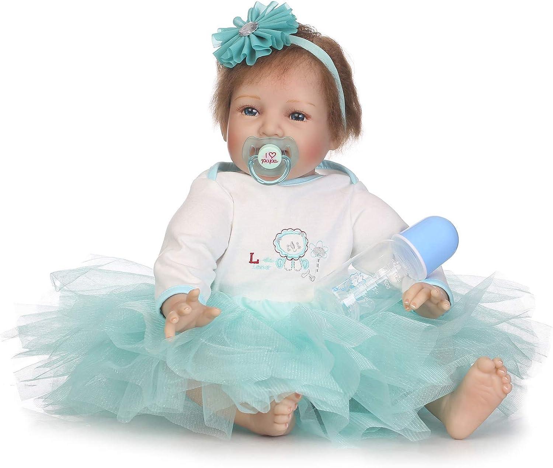 IIWOJ Eine 55 cm groe Puppe mit groen, schlagenden Augen und geschenken für mdchen