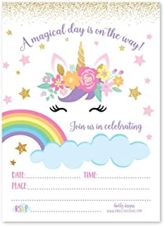 25 Unicorn Floral, Rainbow Magic Star Kids Birthday Invite or Faux Glitter Slumber Party Girl Invitation, Cloud Sparkle Themed Sleepover Invite Ideas, Sparkling Bday, Printed or Fill In the Blank Card
