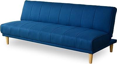 DORIS ソファベッド シングル 3人掛け 幅180 脚付き リクライニング ネイビー カナペ