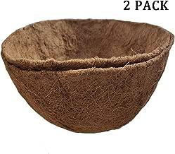 2PCS Round Replacement Coco Liner for Hanging Basket, 12 inch Coconut Fiber Plant Basket Liner for Garden Planter Flower Pot (12 inch Round)