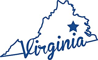 ND442B State Of Virginia Script Decal Sticker | 5.5-Inches By 3.3-Inches | Premium Quality Blue Vinyl