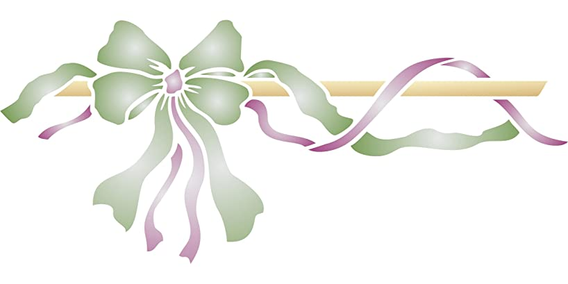 """Bow Ribbon Border Stencil - (size 19.5""""w x 8.5""""h) Reusable Wall Stencils for Painting - Best Quality Wall Art Décor Ideas - Use on Walls, Floors, Fabrics, Glass, Wood, Terracotta, and More…"""