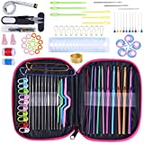 KOKNIT Multicolor Aluminum Crochet Hooks, 100Pcs Knitting & Crochet Supplies Set with Case, Crochet Hook Needles for Crocheting Beginner