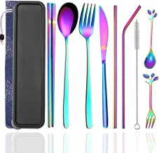 Cennsa Cutlery Set Portable, Reusable Multicolor Travel Cutlery & Utensils Set with Case, 9 Pcs Flatware Including Knife Fork Spoon Chopsticks Metal Straws, Stainless Steel Travel Flatware Set
