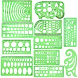 11 Piece Geometric Drawing Template Measuring Ruler, Transparent Green Plastic Ruler with Portable Plastic Bag for, for...