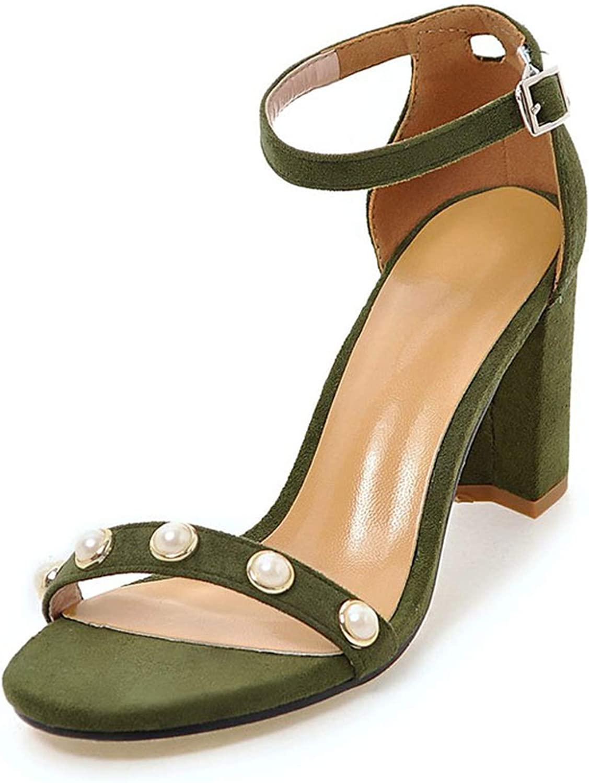 Womens shoes Block Heels Ankle Strap Sandals Women Pearl Party Dress Sandals Summer Wedding shoes shoes women