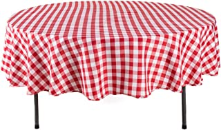 YRYIE 90 inch Round Buffalo Checkered Polyester Tablecloth Gingham for Family Dinners or Gatherings,Parties,Holiday Dinner Kitchen Accessories,Red & White