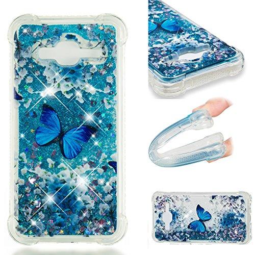 HopMore Compatible con Funda Samsung Galaxy J3 2016/2015 Silicona 3D Glitter Liquido Brillante Purpurina Transparente Carcasa Resistente Case Cover Antigolpes para Mujer Niña - Mariposa Azul