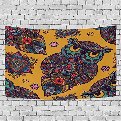 Tapiz para colgar en la pared, vintage étnico tribal búho pájaro arte tapiz colgante de pared para sala de estar dormitorio decoración del hogar 60 x 40 pulgadas