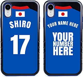 Custom Japan Flag Soccer Jersey Cases for iPhone XR by Guard Dog – Personalized – Put Your Name and Number on a Phone Case. Includes Screen Protector (Black,Blue)
