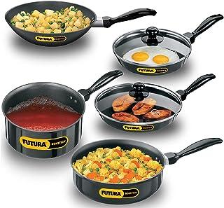 Futura Non-Stick 7 Pieces Cookware Set , Black, 3.25 Litres