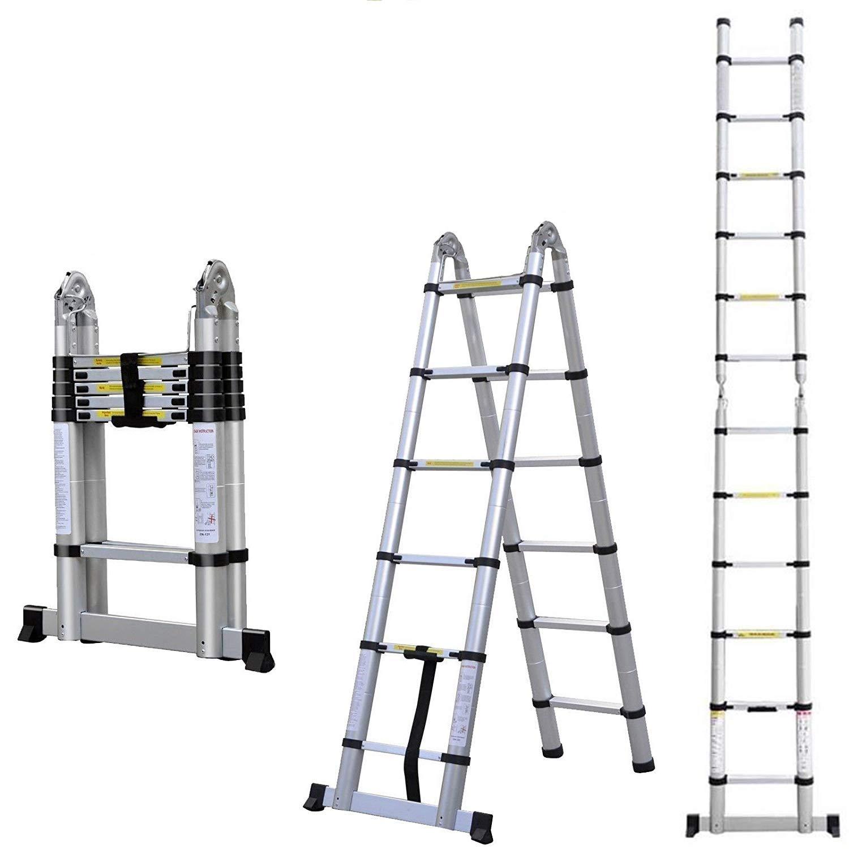 Escalera de aluminio telescópica doble de 3,8 m, 1,9 m + 1,9 m, portátil, plegable, multiusos, diseño de ático, plegable para decorar casas y garajes, 330 libras: Amazon.es: Bricolaje y herramientas