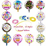 Happy Birthday Aluminum Foil Balloons (50-Pieces) with 100 Meter Ribbons - Helium Floating Mylar Balloon Party Decoration Supplies - 18 Inches Round Inflatable Balloons