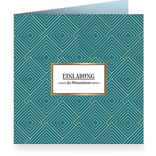 3x Edle grafische Einladungskarte mit Wunschtext, petrol zur Hochzeit, Geburtstag mit Innendruck (quadratisch 15,5cm + Umschlag) mit Art Deco Muster: Einladung- große XL Karte