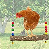 NCTP Chicken Swing Toys with Natural Wooden Handmade Chicken Perch, Chicken Wood Stand Chicken Bird Toy for Hens, Handmade Chicken Swing for Large Bird Parrot Hens Macaw Trainning