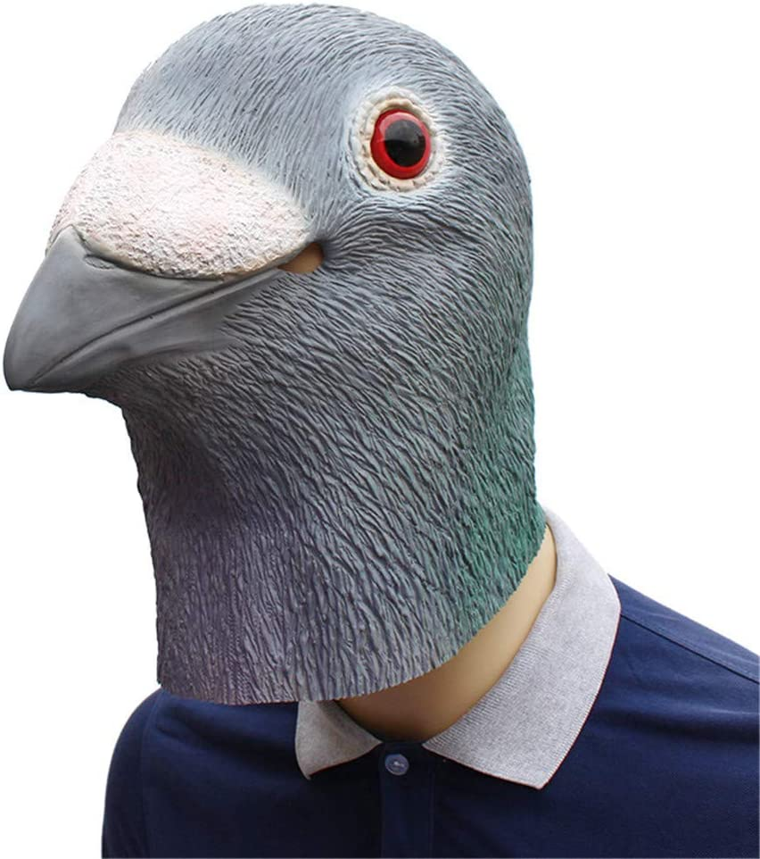 Halloween Masker Halloween Masquerade Volledige Masker Dress Party Creative Pigeon Hoofddeksels Festival Props role-playing Mask (Color : Gray) Gray