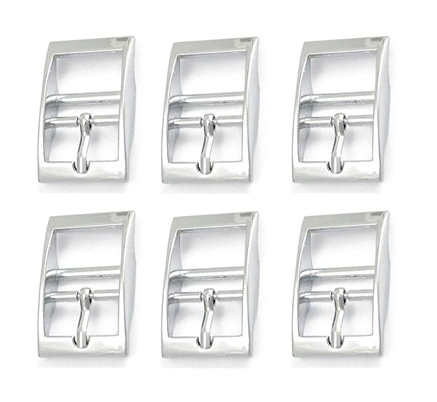 Nickel Plate Silver Double Bar Buckle - 6 Pack