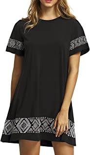Floerns Women's Casual Embroidered Short Sleeve Swing Tunic T Shirt Dress