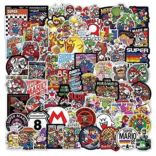 Super Mario Sticker 100 unids/lote lindo juego de dibujos animados Mario estilo equipaje pegatinas para regalos para bricolaje teléfono portátil nevera guitarra botella de agua decoración etiqueta