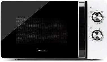 Taurus Fastwave 20 Grill - Horno microondas, 20L, 700W, Grill 800W, 9 potencias, Función descongelar, Auto-Clean, Sistema White&Clean, Blanco/Plata