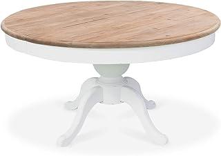 INTENSEDECO Table Ronde Extensible en Bois Massif SIDONIE Blanc